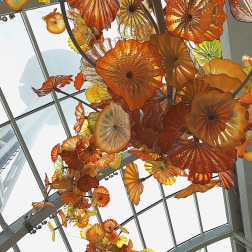 I love the way this glass chandelier piece looks up to the Space Needle.